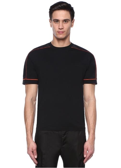 Siyah Bisiklet Yaka Garnili Turuncu Biyeli T-shirt