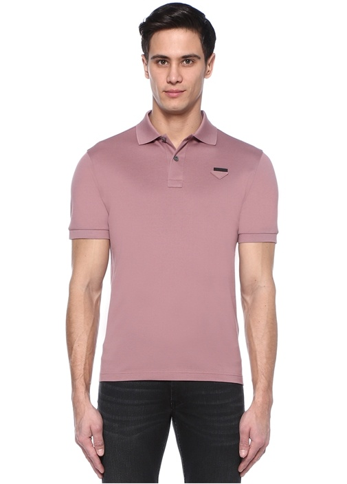 Pembe Polo Yaka Logolu T-shirt