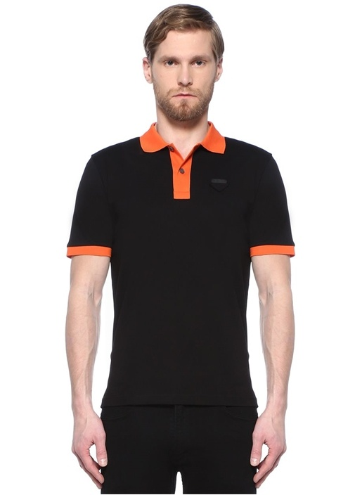 Siyah Polo Yaka Turuncu Ribli Şeritli T-shirt