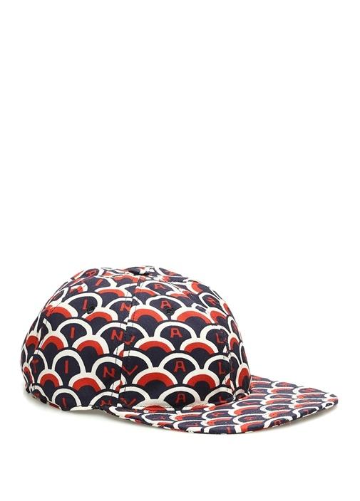 Kırmızı Lacivert Mikro Desenli Logolu Erkek Şapka