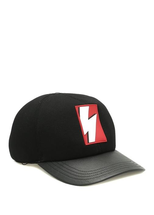 Siyah Şimşek Patchli Erkek Şapka