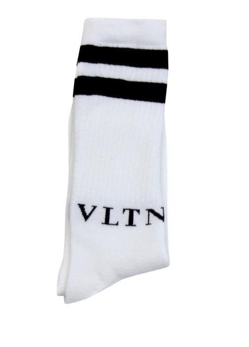 Beyaz Siyah Logo Jakarlı Ribli Erkek Çorap