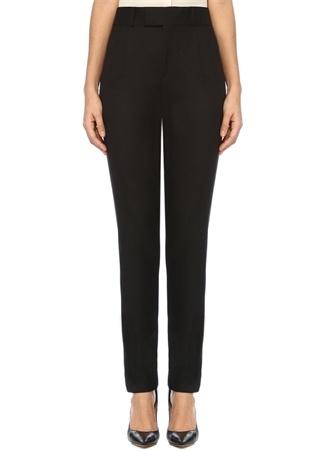 Siyah Normal Bel Dar Paça Yün Pantolon