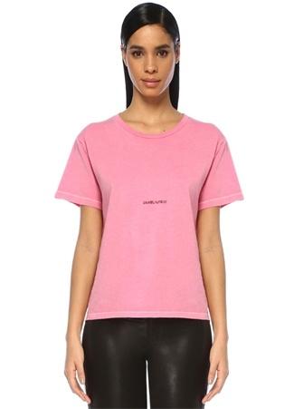 Saint Laurent Kadın Rive Gauche Pembe Logo Baskılı -shirt L Ürün Resmi