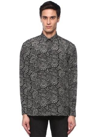 Saint Laurent Erkek Siyah Beyaz İngiliz Yaka Etnik Desenli İpek Gömlek 40 I (IALY) Ürün Resmi