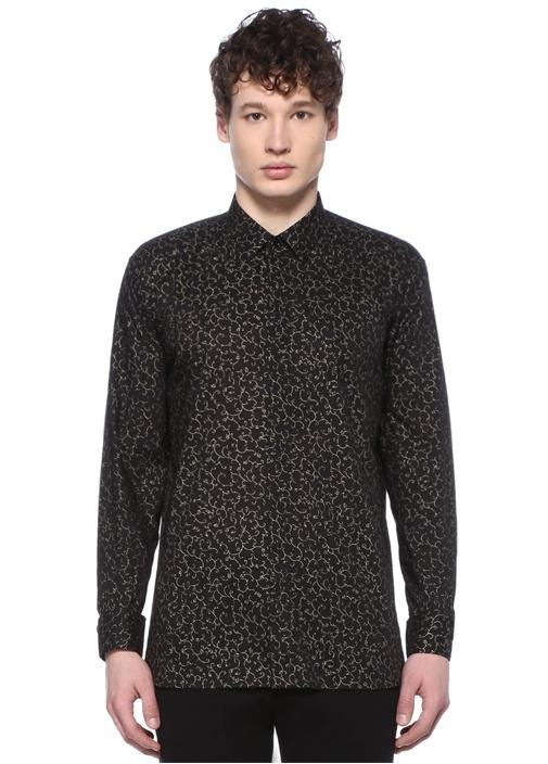 Siyah Gold Mikro Desenli Gömlek