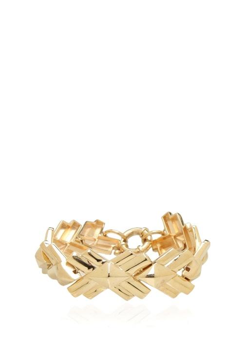 Gold Yaprak Formlu Kadın Gümüş Bilezik