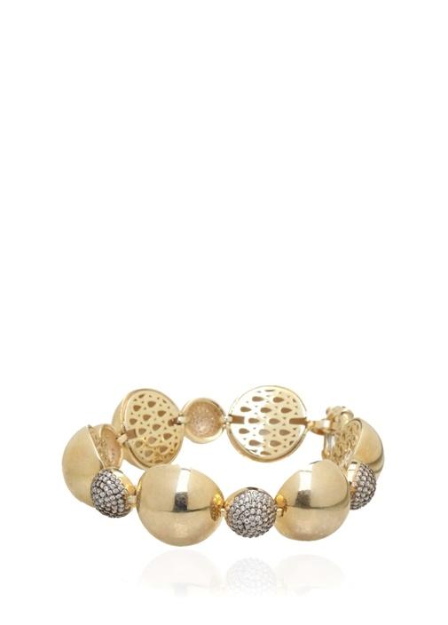 Gold Halka Formlu Taşlı Kadın Gümüş Bilezik
