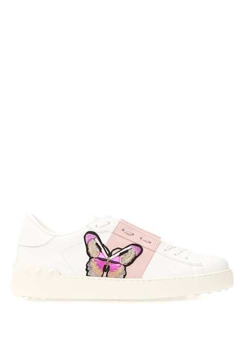 Open Beyaz Pembe Logolu Kadın Deri Sneaker