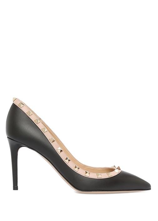 Rockstud Siyah Bej Deri Topuklu Ayakkabı