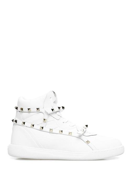 Rockstud Beyaz Kadın Deri Sneaker
