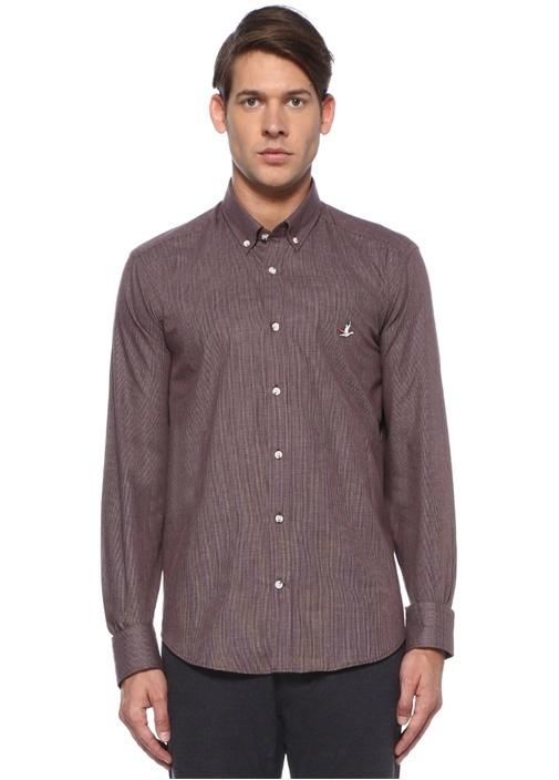 Comfort Fit Düğmeli Yaka Kazayağı Desenli Gömlek