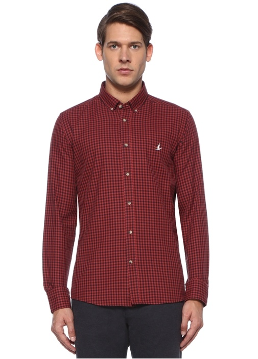 Slim Fit Kırmızı Düğmeli Yaka Pötikareli Gömlek