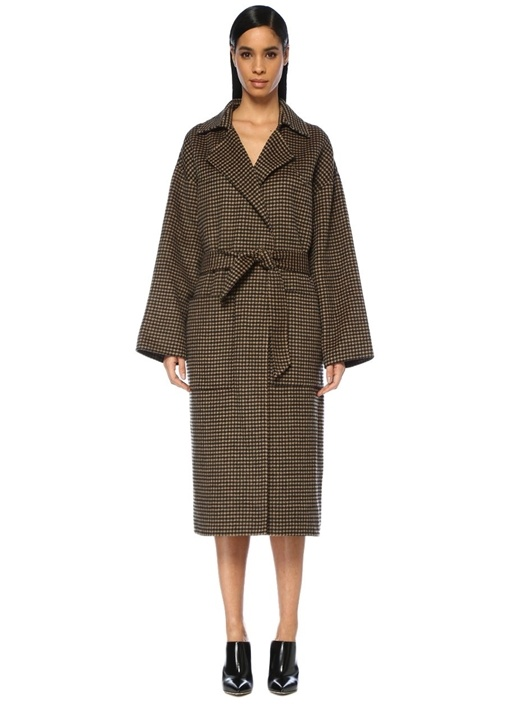 Nanushka Alamo Kahverengi Kazayağı Desenli Yün Palto – 4595.0 TL