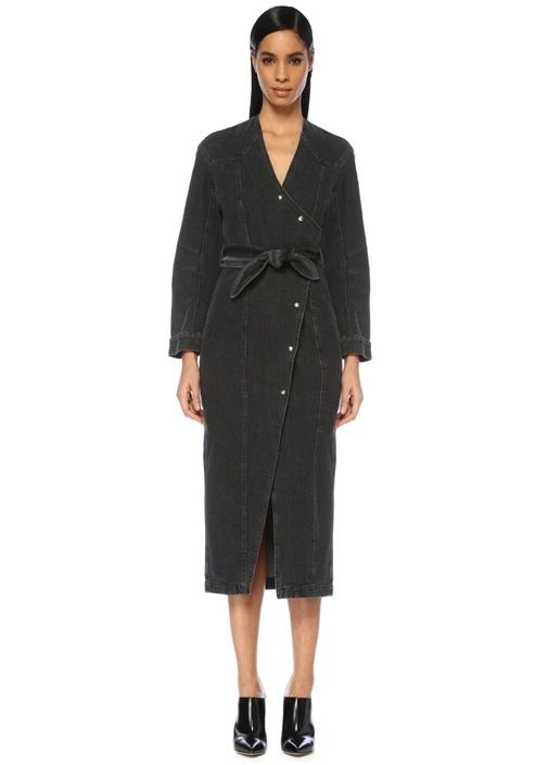 Westie Siyah V Yaka Midi Anvelop Jean Elbise