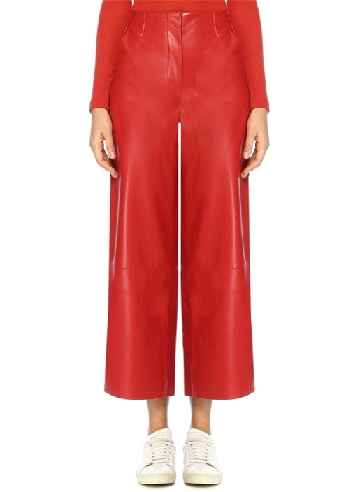 Nanushka Africa Kırmızı Yüksek Bel Crop Deri Pantolon – 1922.0 TL