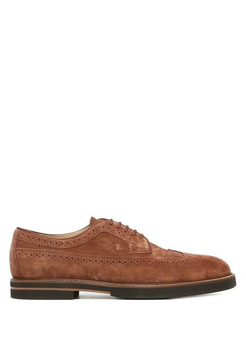 Kahverengi Delik Detaylı Erkek Süet Ayakkabı
