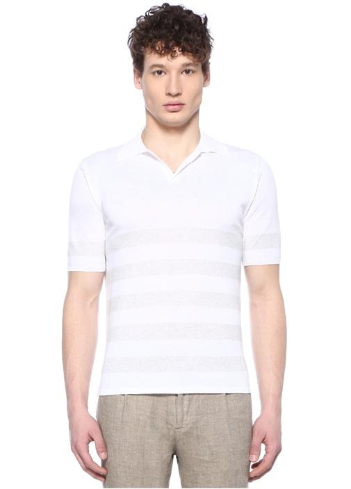 Beyaz Çizgi Desenli Polo Yaka Triko