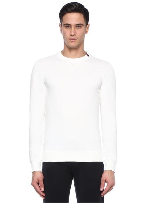Beyaz Bisiklet Yaka Logo Şeritli Sweatshirt