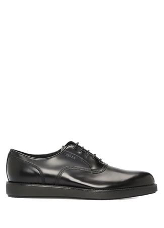 Prada Erkek Siyah Logolu Deri Ayakkabı 0.5 UK
