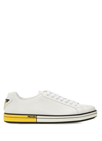 Beyaz Tabanı Şerit Detaylı Erkek Deri Sneaker