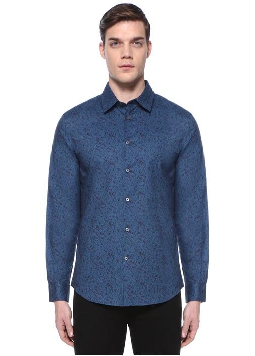 Lacivert Mikro Desenli İngiliz Yaka Gömlek