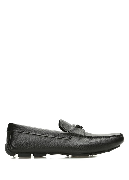 054f768df7649 Prada Siyah ERKEK Siyah Dikiş Detaylı Logolu Erkek Deri Ayakkabı ...