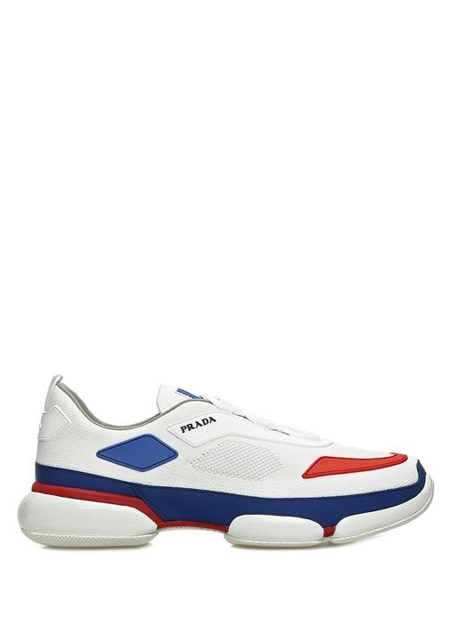 Beyaz Logolu Renk Detaylı Dokulu Erkek Sneaker