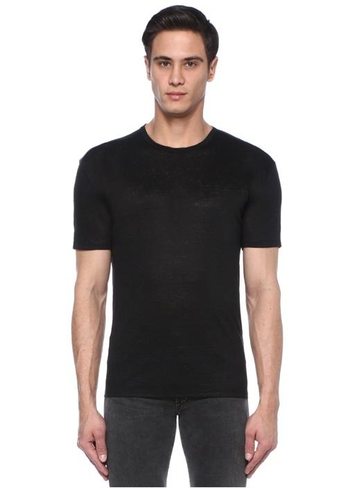 Siyah Bisiklet Yaka Keten Basic T-shirt