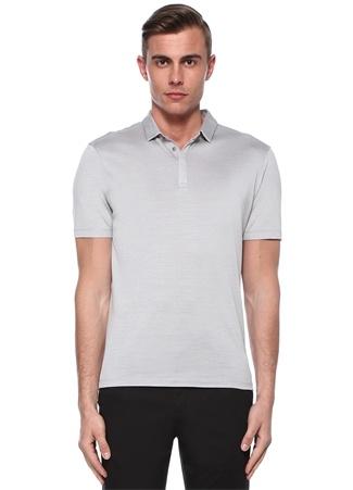 Gri Polo Yaka Gizli Patlı İpek T-shirt