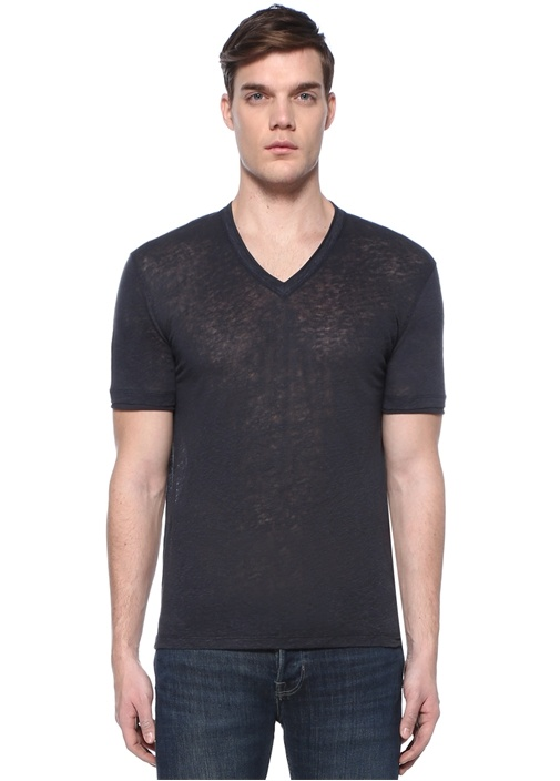 Lacivert V Yaka Keten Basic T-shirt