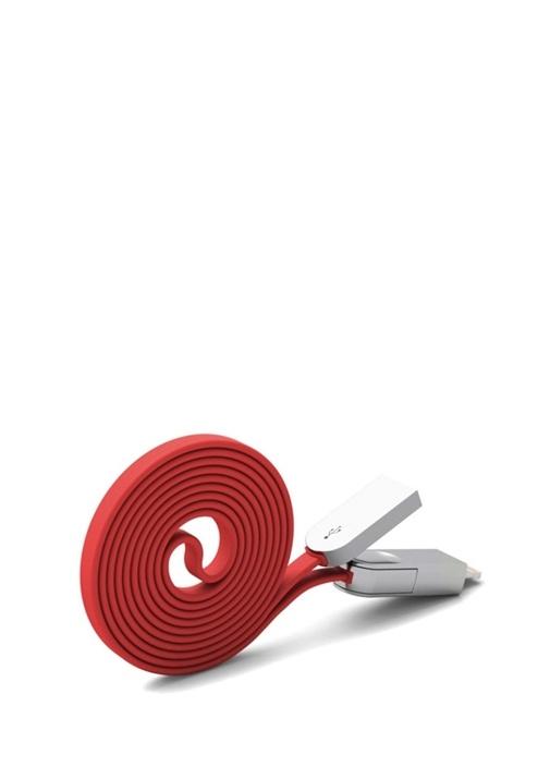 Lightning ve Micro USB Data Kırmızı Sarj Kablosu