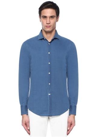 Brunello Cucinelli Erkek Slim Fit Mavi Kesik Yaka Gömlek M Ürün Resmi