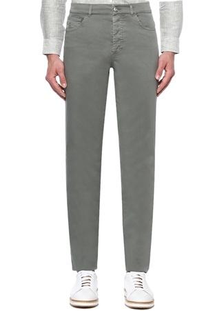 Slim Fit Haki Kontrast Dikişli Pantolon