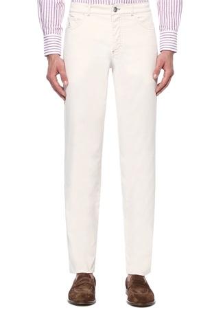 Slim Fit Ekru Kontrast Dikişli Pantolon