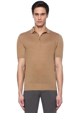 Kamel Polo Yaka Keten T-shirt