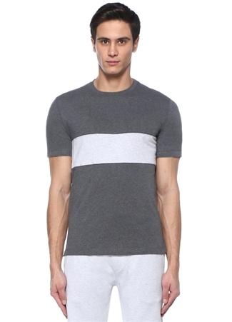 Regular Fit Antrasit Gri Şeritli T-shirt
