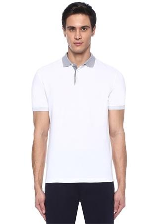 Regular Fit Beyaz Polo Yaka Dokulu T-shirt