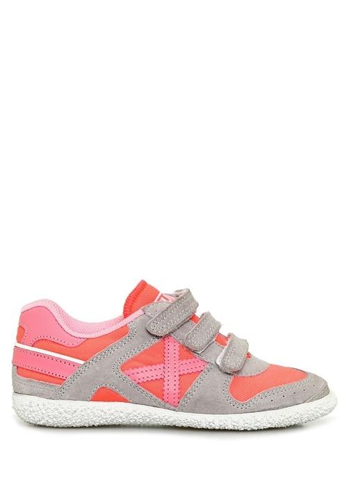 Mini Munich Velcro Pembe Gri Çocuk Deri Sneaker