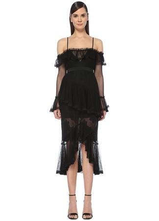 2692165fd0df7 Alice McCall Kadın All I Know Siyah Asimetrik Fırfırlı Midi Elbise 10 US