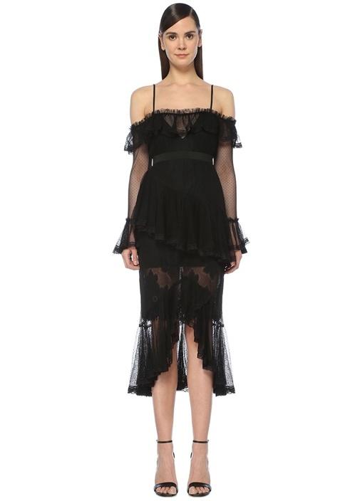 All I Know Siyah Asimetrik Fırfırlı Midi Elbise