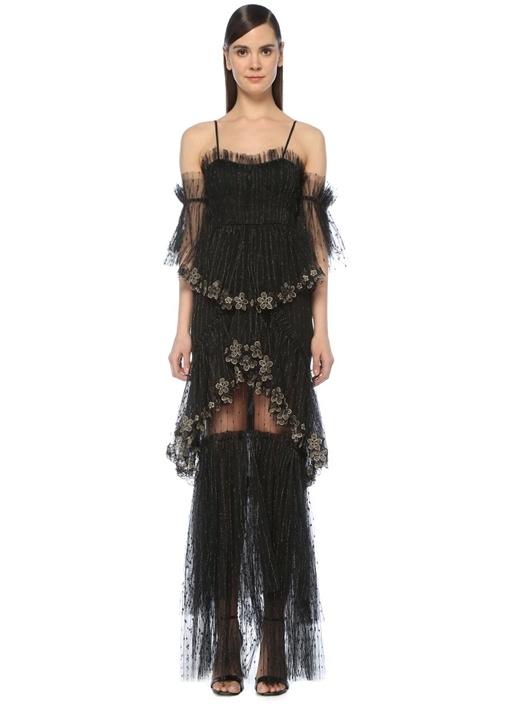 Stillness Siyah Omzu Açık Simli Maksi Tül Elbise