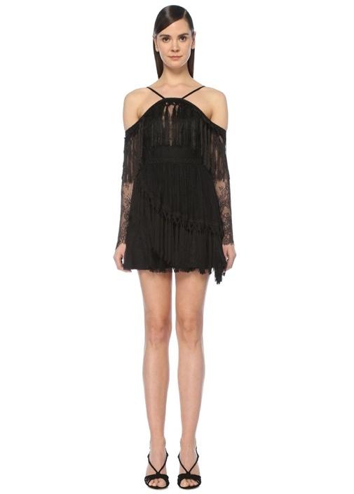 Shes Cosmic Siyah Püsküllü Mini Dantel Elbise