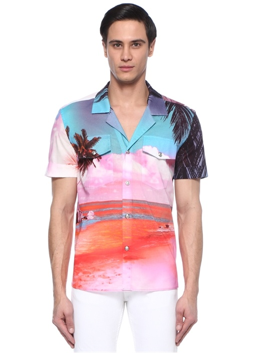 Pembe Karışım Desenli Apaç Yaka Gömlek
