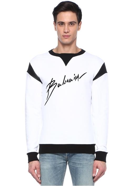 Beyaz Siyah Logo Baskılı Sweatshirt