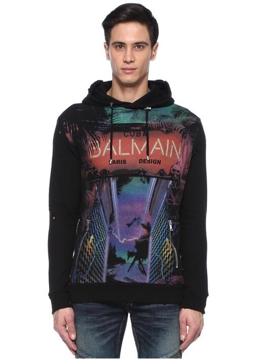 Siyah Karışık Desenli Fermuar Detaylı Sweatshirt