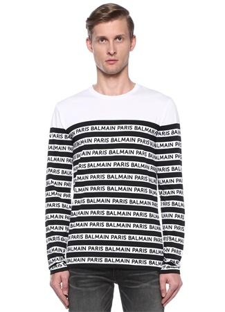 7f4051b62c870 Beyaz Siyah Şerit Logo Baskılı Sweatshirt