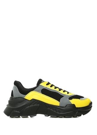 Siyah Sarı Reflektörlü File Dokulu Erkek Sneaker