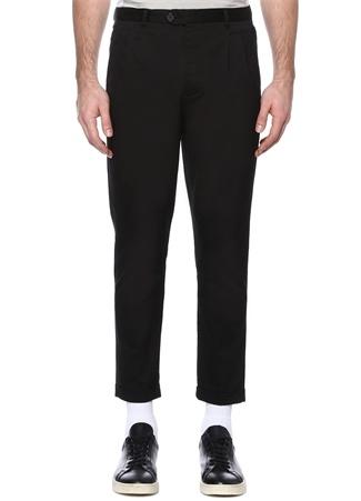 Siyah Normal Bel Paça Detaylı Kanvas Pantolon
