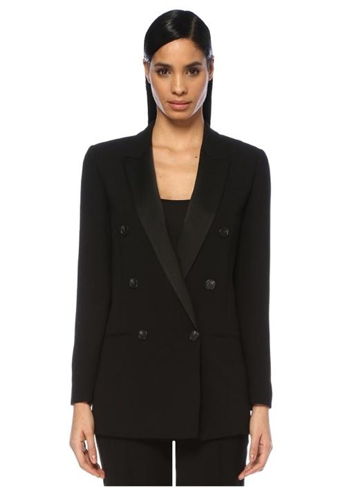 Isla Ora Siyah Kırlangıç Yaka Kruvaze Blazer Ceket